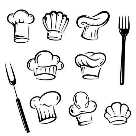 Vector Set of chef hats Vector