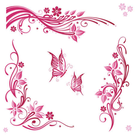 Vector Set of summer flowers in pink Vector