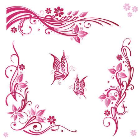 Vector Set von Sommerblumen in rosa Illustration