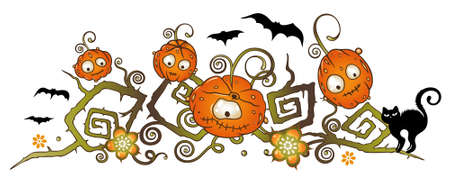 Halloween pumpkin comic vine Vector