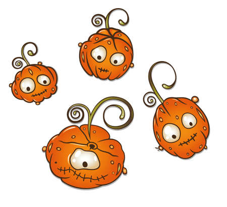 sanction: Colorful cartoon pumpkins for Halloween Illustration