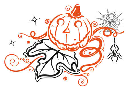 sanction: Halloween pumpkin, autumn Illustration