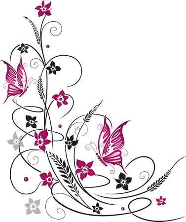 Bunte Blumen mit Schmetterlingen