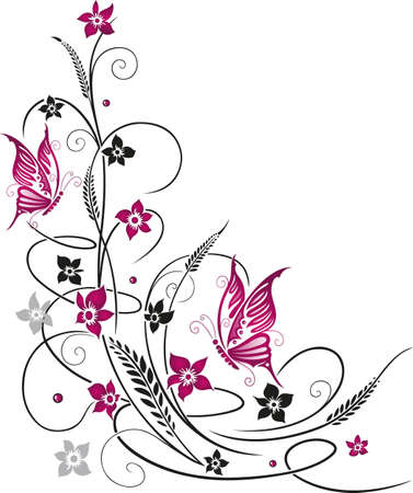 Colorful flowers with butterflies Vector