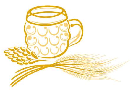 brewers: Beer, hops, barley, vector Illustration