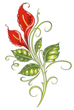 Red flower, lily Vector