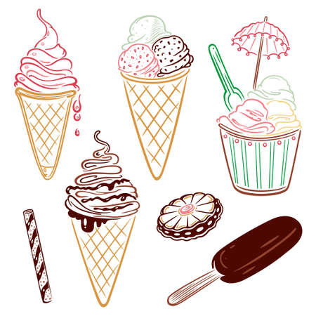 sundae: Ice cream and chocolate vector set Illustration