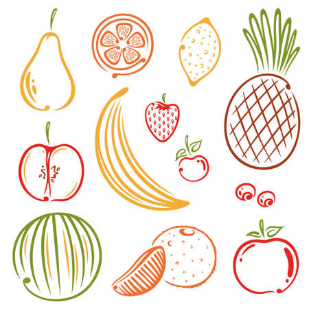 raw food: Set of colorful fruits, vegan, raw food Illustration