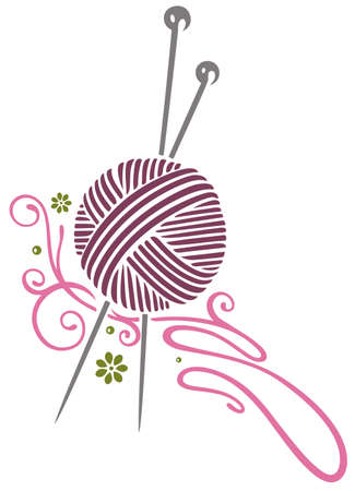 Purple wool with knitting needles Vector