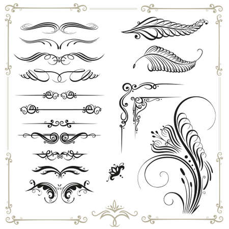 vintage: Vector calligraphy set, vintage Illustration