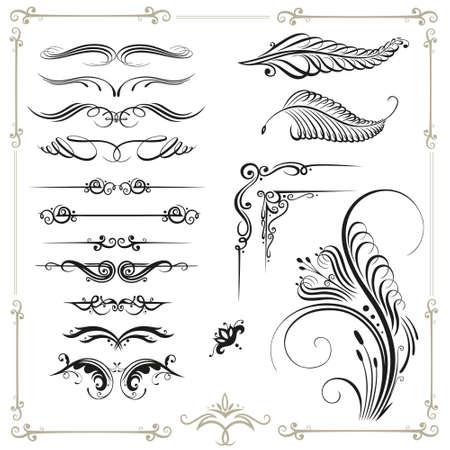 VINTAGE: Vector set calligraphie, cru