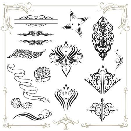 Vector calligraphy set, vintage Stock Vector - 21682699
