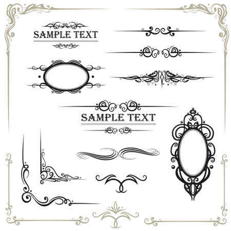 Vector calligraphy set, vintage Illustration