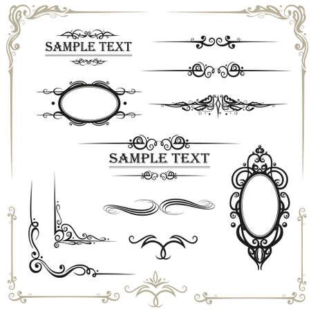 Vector Kalligraphie Set, vintage Illustration