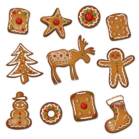 Gingerbread and bisquits for christmas Vector