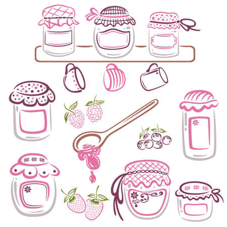 strawberry jelly: Colorful jam jars, vector set Illustration