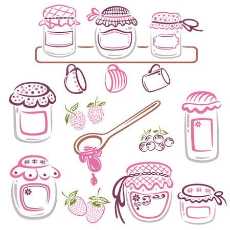 raspberry pink: Colorful jam jars, vector set Illustration