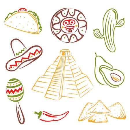 Bunte Mexiko vector set Illustration