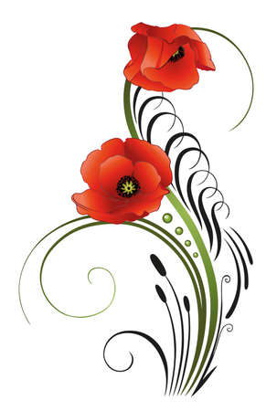 poppies: Filigree tendril with poppies