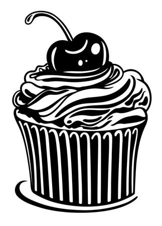 Muffin with cherry, black illustration Vector