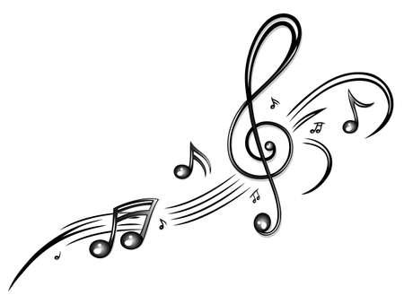 notes de musique: Clef avec des notes de musique, tribal noir Illustration