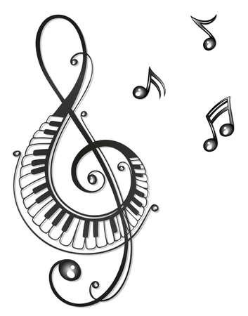 klavier: Clef mit Musik Noten, schwarz tribal