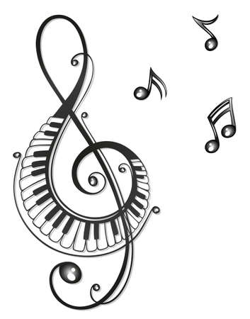 notes music: Clef with music notes, black tribal