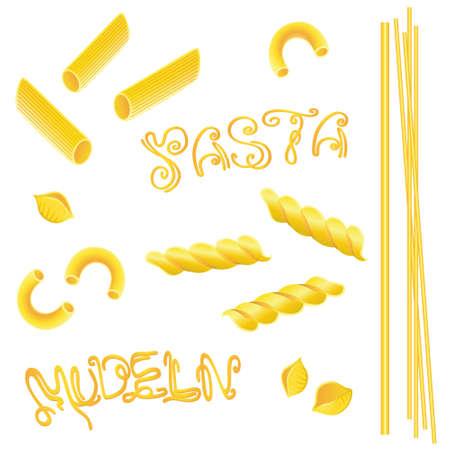 Colorful noodles, pasta vector set Vector