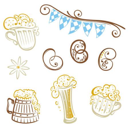 german flag: Oktoberfest, vector set, design elements, beer