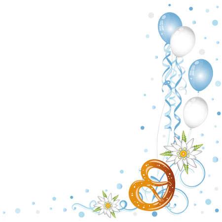 oktoberfest: Oktoberfest border, pretzel, balloons