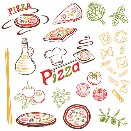 Italian food, pizza, pasta vector set