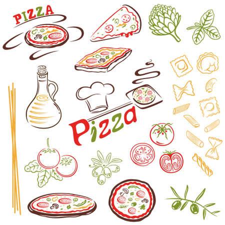 Italian food, pizza, pasta vector set