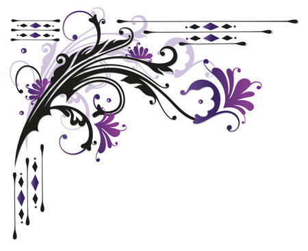 flourish: Abstract flowers with leaves, violet and purple