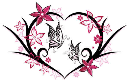Heart with butterflies and flowers, pink Illustration