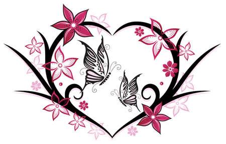 Herz mit Schmetterlingen und Blumen, rosa