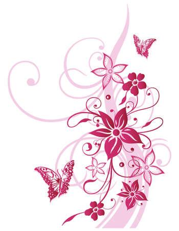 Bunte Blumen, Sommer, rosa mit Schmetterlingen
