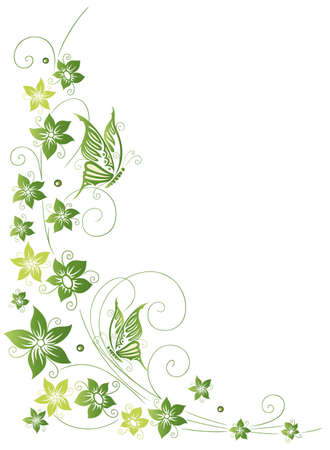 green swirl: Filigree tendril, flowers with butterflies  Illustration