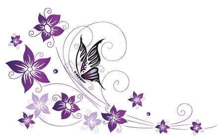 butterfly border: Filigree colorful flowers, violet with butterfly