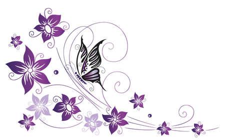 flores moradas: Flores de colores filigrana, violeta con mariposas