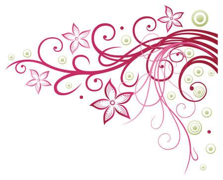 Bunte Blumen, Grenze, rosa und grün