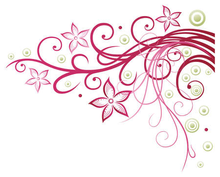 Colorful flowers, border, pink and green Illustration