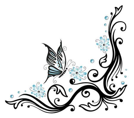 Schwarz, blaue Blumen mit Schmetterling, Tattoo-Stil
