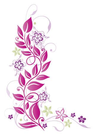 bordure floral: Fleurs roses et pourpres, �t�