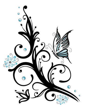 Black, blue flowers with butterfly, tattoo style