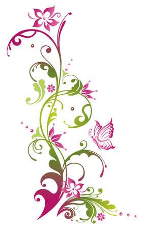 borde de flores: Coloridas flores con mariposa, verde y rosa