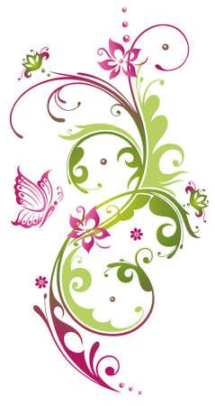 Bunte Blumen mit Schmetterling, grün und rosa Illustration