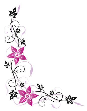 Filigrane bunten Blumen, rosa und schwarz