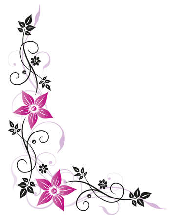 tendrils: Filigree colorful flowers, pink and black
