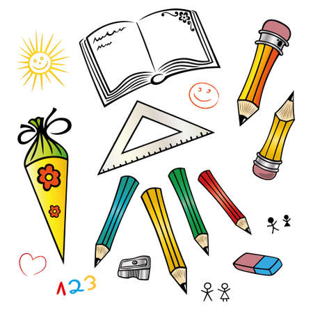 first day of school: Colorful vector set