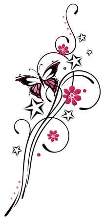 dessin tribal: Tribal avec les �toiles et le papillon, rose et noir